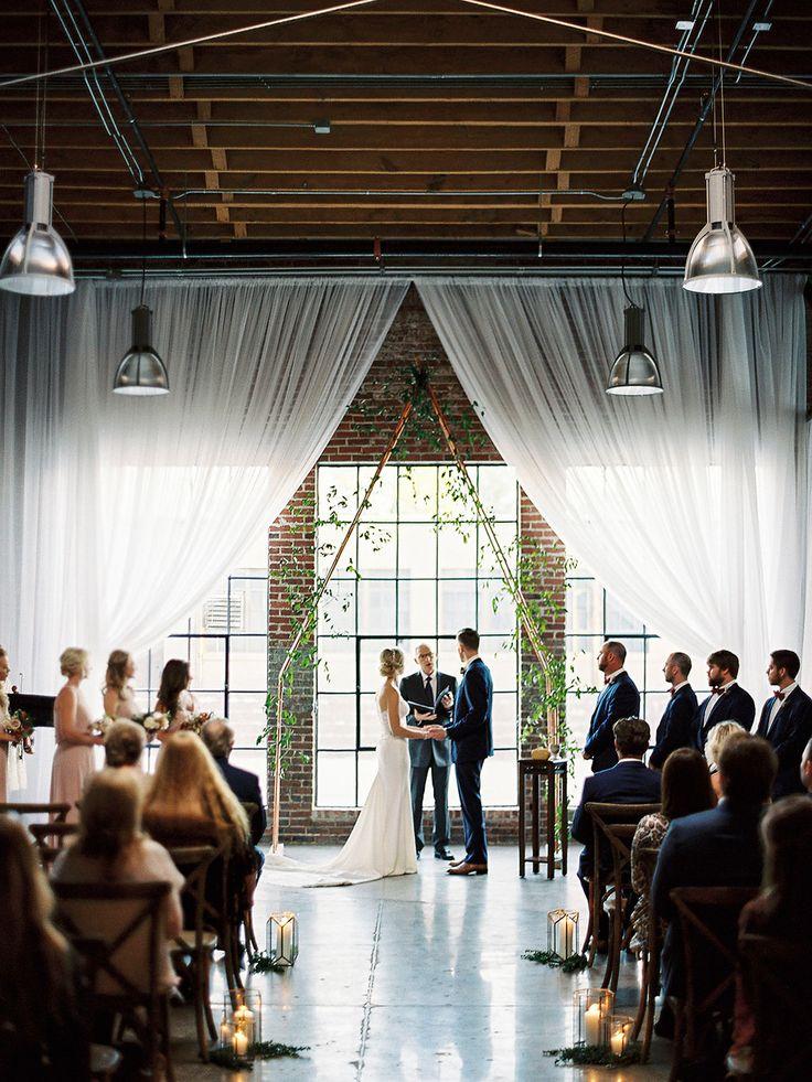 wedding ceremony - photo by Amanda Lenhardt http://ruffledblog.com/industrial-romantic-birmingham-wedding