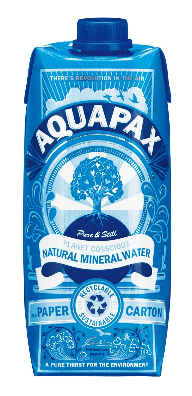 aquapax mineral water. beautiful packaging. Love the shades of blue.