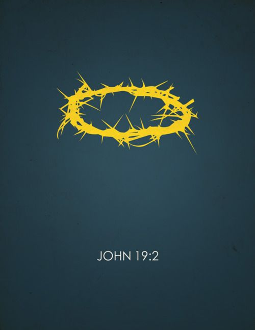 The soldiers twisted together a crown of thorns and put it on his head.