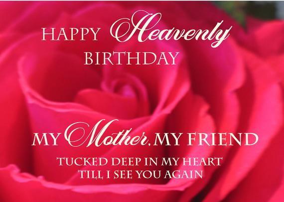 Birthday For Mom In Heaven Handmade Cemetery Or Memorial Card Etsy Mom In Heaven Birthday In Heaven Happy Birthday In Heaven