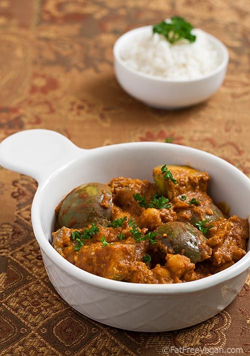 Thai Eggplants and Chickpeas in Peanut Masala: In this shortcut version of Begara Baingan, Thai eggplants are simmered in a rich coconut peanut masala for a delicious vegan Indian main dish.