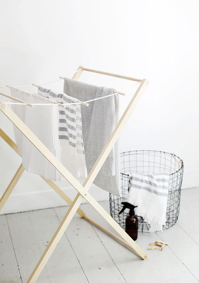 Manda McGrath, half the team of The Merrythought, came up with this very cool laundry drying rack for our DIY Challenge here on The Home Depot Blog. We asked her to createa fun and useful DIY project