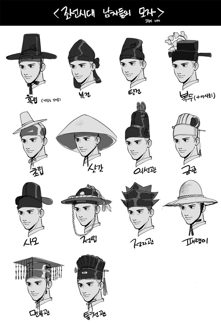 머리 장식 | 조선시대 남성모자 | Men's caps and hats in Chosun Age (drawing by twitter: @ spacewolfy_)