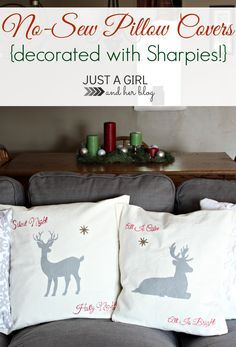 Can you believe these pillows are no sew and decorated with SHARPIES?! Brilliant! | Just a Girl and Her Blog #StaplesSharpie #PMedia #ad