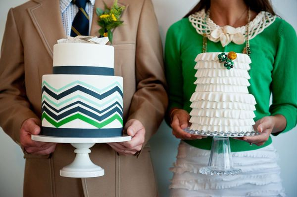Green + White, Chevron + Ruffle Cake, by Cocoa & Fig, photo: Jeff Loves Jessica