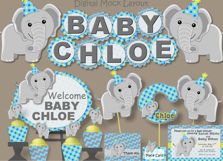 Elephant Baby Shower (Blue/Yellow)- Party Package,Birthday Invitation, Banner, Decoration, Favor, Decor, Centerpiece, Invite #bcpaperdesigns