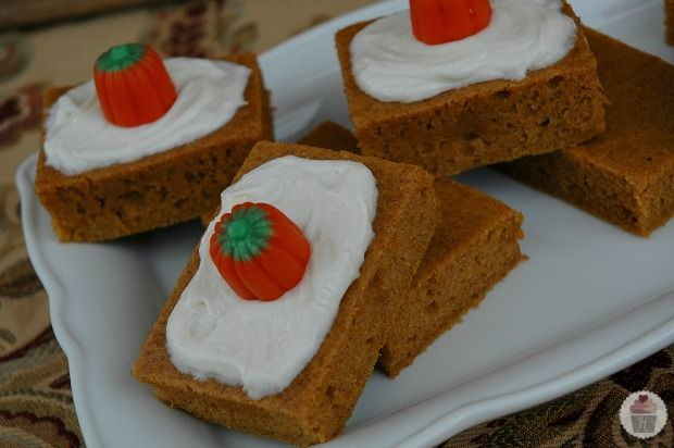 Pumpkin Bars (made with Truvia Baking Blend instead of sugar) & Topped with Cream Cheese Frosting: HoosierHomemade.com