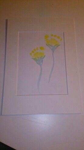 Fra barnebarn. Bursdagskort limt fast på paspartou. | From grandchildren