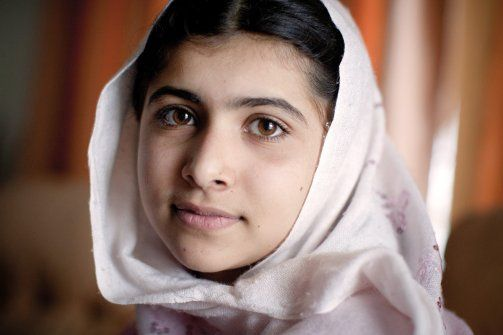 Malala Yousafzai, 15, is a Pakistani peace activist who fights for the right for girls like her to get an education. She came to international prominence in October, when she was shot by the Taliban for her activism. But she began her work at age 12, anonymously blogging for the BBC about girl students and publicly encouraging other girls and their families to defy the Taliban's ban on girls education. There is currently an international campaign to nominate her for the Nobel Peace Prize.