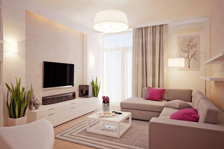 LED Flachfernseher an der Wand im Wohnzimmer montiert