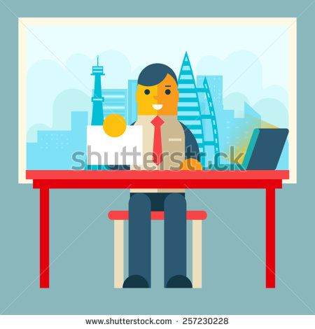 Businessman Sitting Table with Paper Contract Corm Sign Window City Background Flat Design Concept Template Vector Illustration