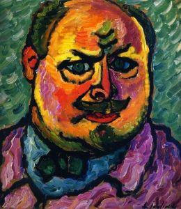 1912 SELF PORTRAIT, Alexej von Jawlensky, Russian Expressionist Painter (1864-1941)
