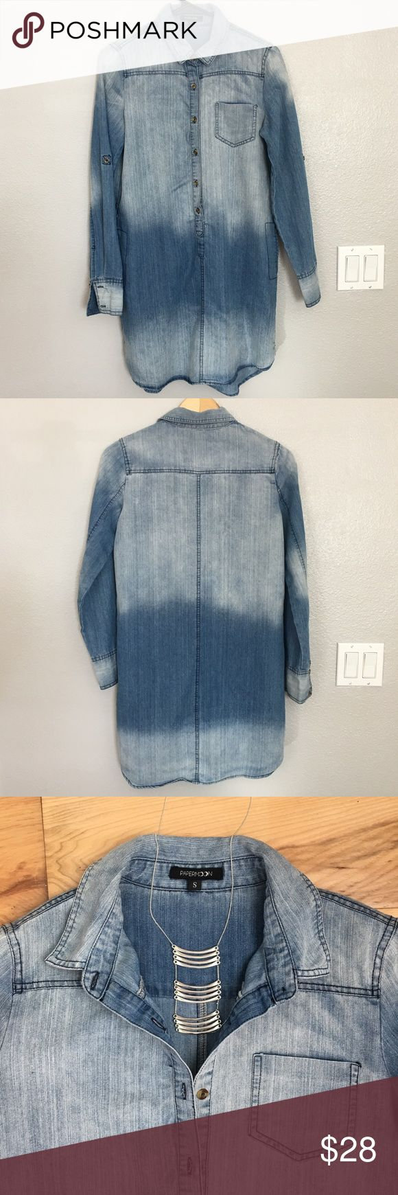 Long Sleeve Denim Shirt Dress Soft fabric.  Comes with braided belt.  Sleeves can be rolled-up with tab or worn down.  Excellent condition, smoke-free, pet-free Paper Moon Dresses Long Sleeve