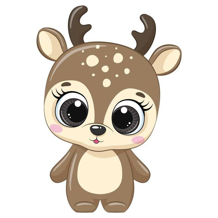 Christmas Deer Clipart, Winter clipart, Cartoon Christmas ...