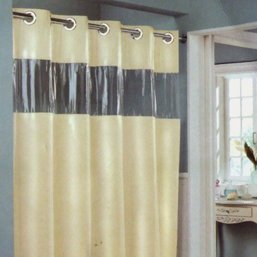 Vinyl Window Curtains For Bathrooms: Hookless Shower Curtain With Window