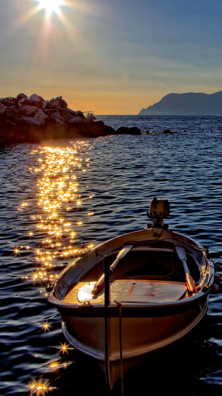 #Nature #boat #sea #sunset #wallpapers hd 4k background for android :)