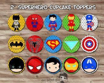 Superhero Cupcake Toppers Superhero Cupcake Wrappers by KidzParty