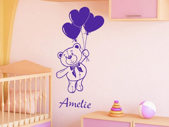 Fabulous Wandtattoo Teddy mit Wunschname Wandtattoo Teddyb r Babyzimmer Wandtattoos Baby