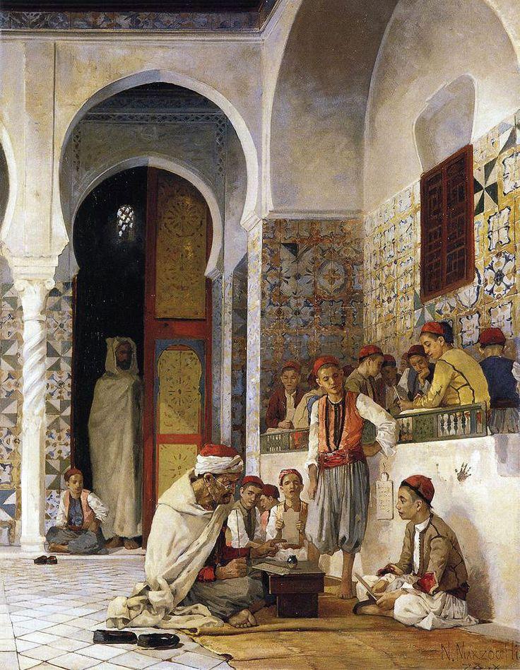 """Numa Belluci (French, 1846 - 1930 """"A Lesson in the Koran"""""""