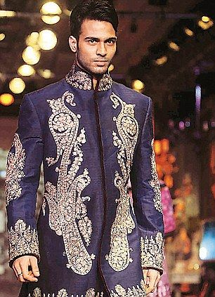 An intricately embroidered sherwani is a must for men in 2012.