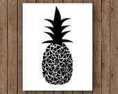 Items similar to Ananas-Print, Ananas Wand, Ananas-Kunst, Ananas-Dekor, schwarz und weiß on Etsy