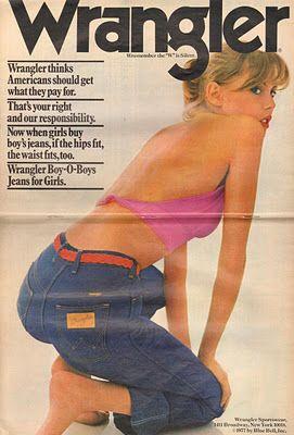 Wrangler Boy oh Boy Jeans 1977  Pin up girl tattoo pose