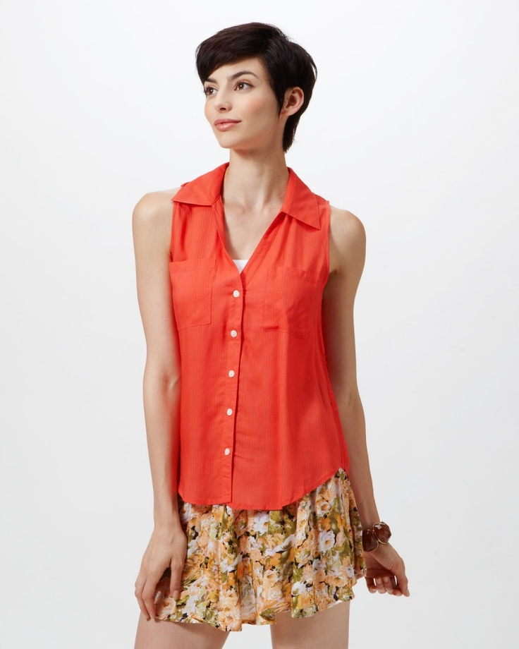 MINK PINK/STAPLE/EVIL TWIN コーラルオレンジ ノースリーブシャツ - ファミリーセールなら、グラムール セールス