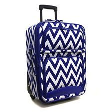Royal blue and white chevron suitcase