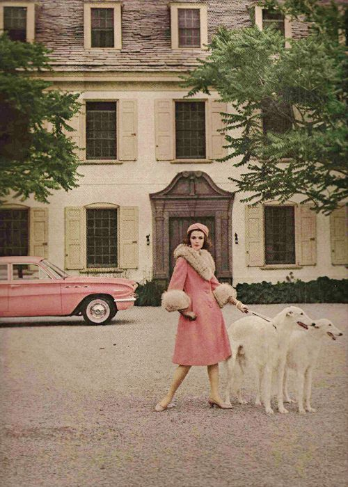 """vintagegal: """"Pink wool and mohair coat trimmed in pale badger by Anne Fogarty…"""