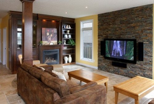 Stone Accent Wall Behind Tv Would Center B T Window And