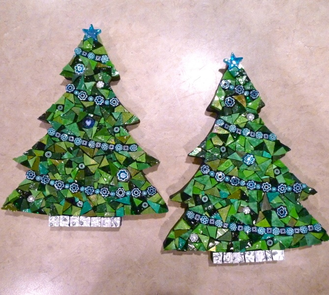 Mosaic Christmas trees. More colored baubles needed.