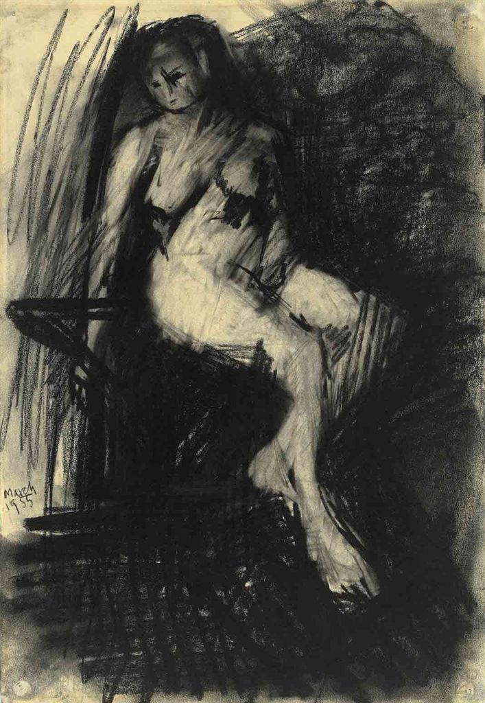 'Study of a Seated Nude' (1955) by Frank Auerbach