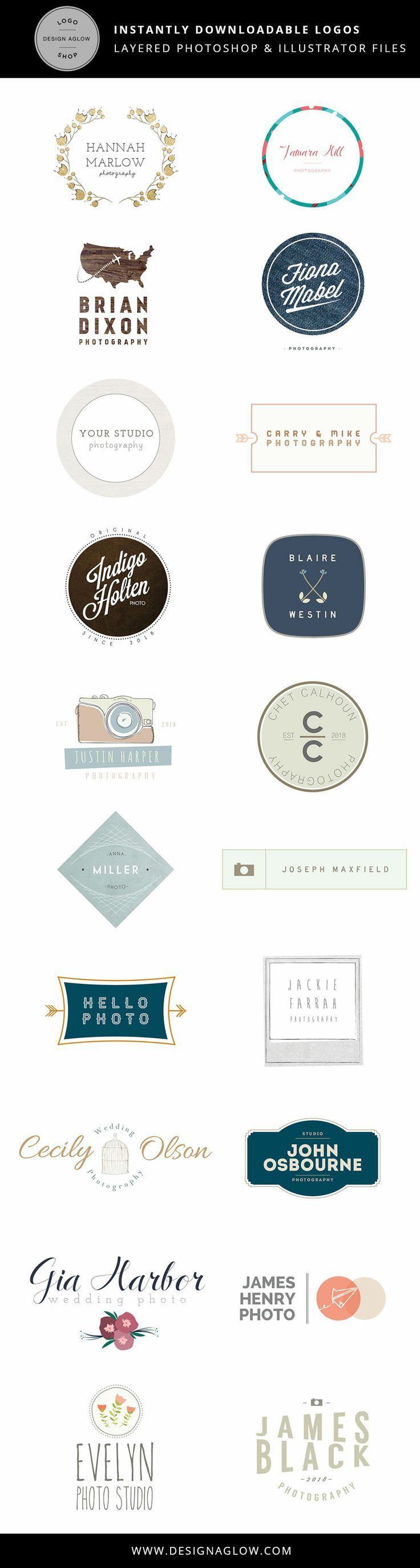 Logos for Photographers | Fully customizable Photoshop and Illustrator files! #designaglow