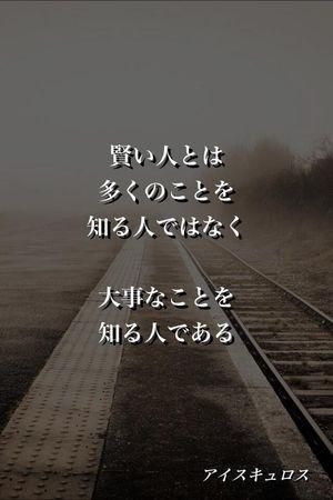 『賢い人とは 多くのことを 知る人ではなく 大事なことを 知る人である』