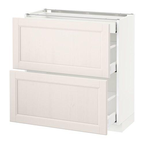 METOD / MAXIMERA Élt bas 2 faces/3 tiroirs - blanc, 80x37 cm, Laxarby blanc - IKEA
