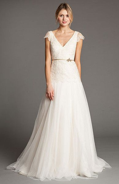 Superb Jenny Yoo uVionnet u Sample Size Wedding Dress on model front