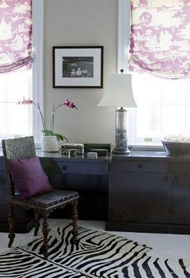 Suzie: Elizabeth Martin Design   Purple And Brown Chic Office Design With  Tan Walls Paint .