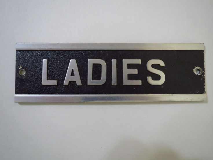VTG 1970s Aluminum Metal Industrial Door Name Plate Room Sign Restroom LADIES