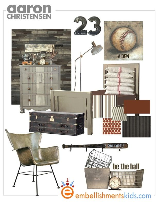 Boys / Teen baseball sports room mood board by Embellishmentskids.com.  Be the ball sports art by Aaron Christensen.  Bed by Newport Cottages.