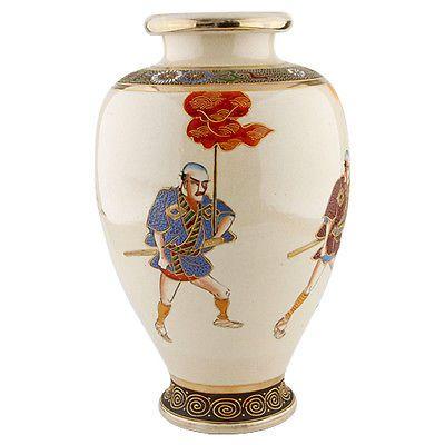 Japanese Satsuma Vase Samurai Warriors Crackled Porcelain