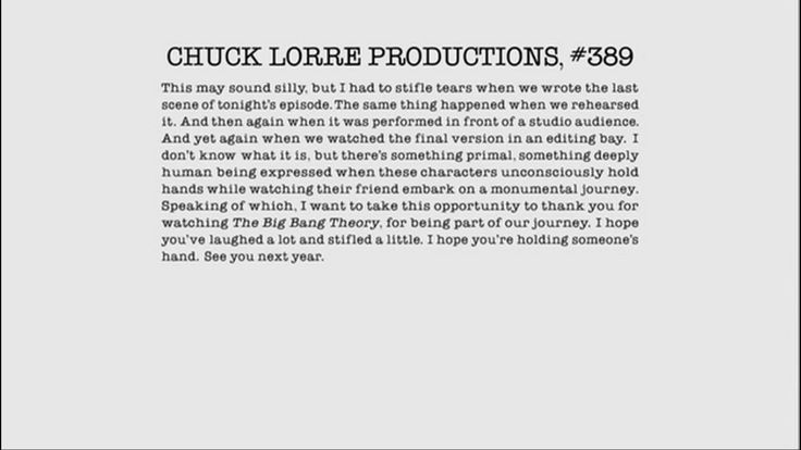 Chuck Lorre Vanity Card 389 Board Of Tv Pinterest