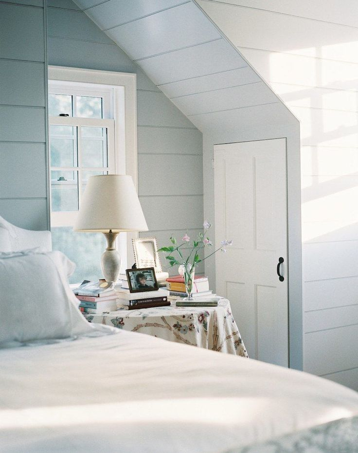 Wall paint color is Benjamin Moore Lookout Point. Mid toned pale blue gray. Beautiful bathroom or bedroom color.