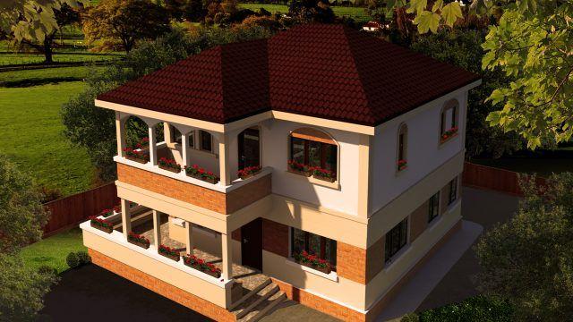 Casa parter si etaj- Varianta de prezentare   Single-family dwelling- Version   Etichete: case mici cu etaj, case moderne cu prispa, case moderne cu cerdac