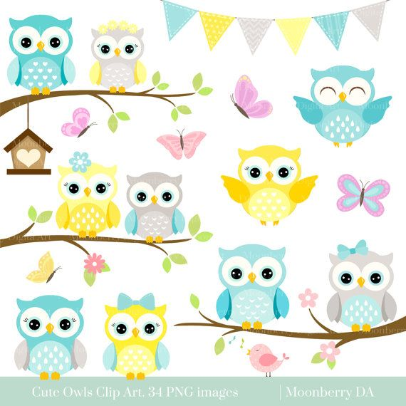 Owls Clipart 'CUTE OWL CLIPART' Digital by MoonberryDigitalArt