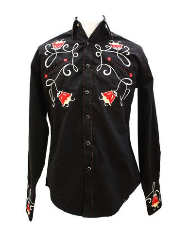 Rockmount Black Art Deco Tulip Embroidered Western  Cowboy Shirt - £59.99