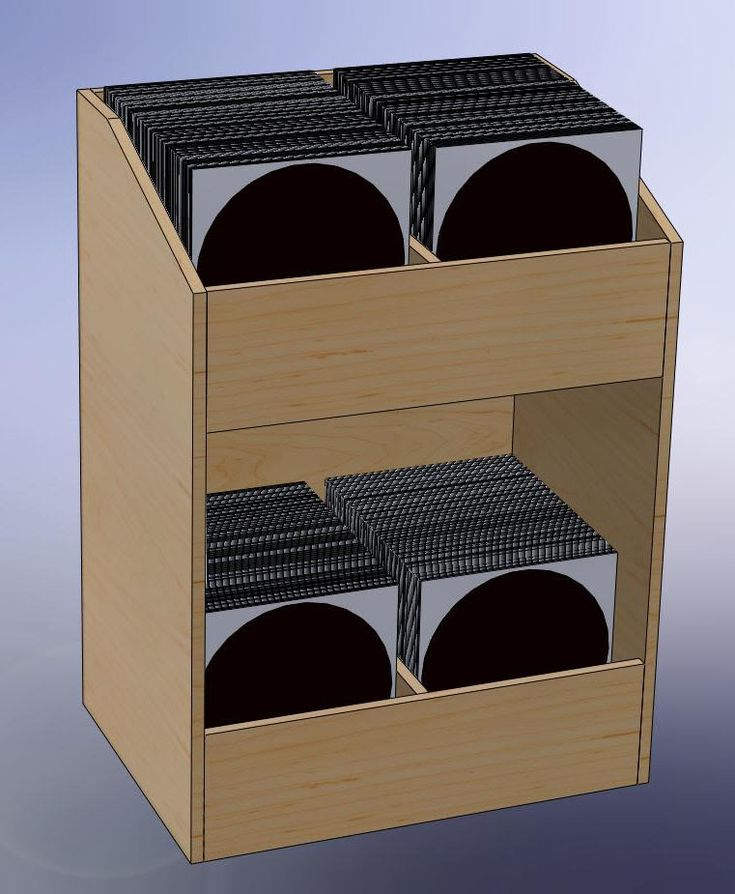 record bin from single 4 x 8 sheet of plywood plans lp