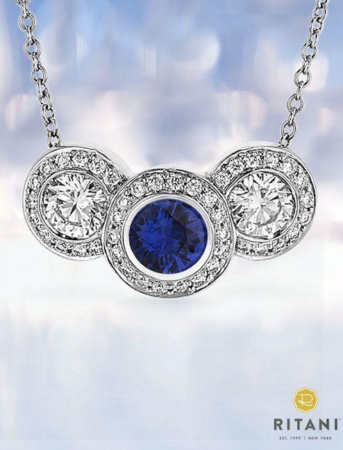 Three-Stone Diamond and Blue Sapphire Pendant