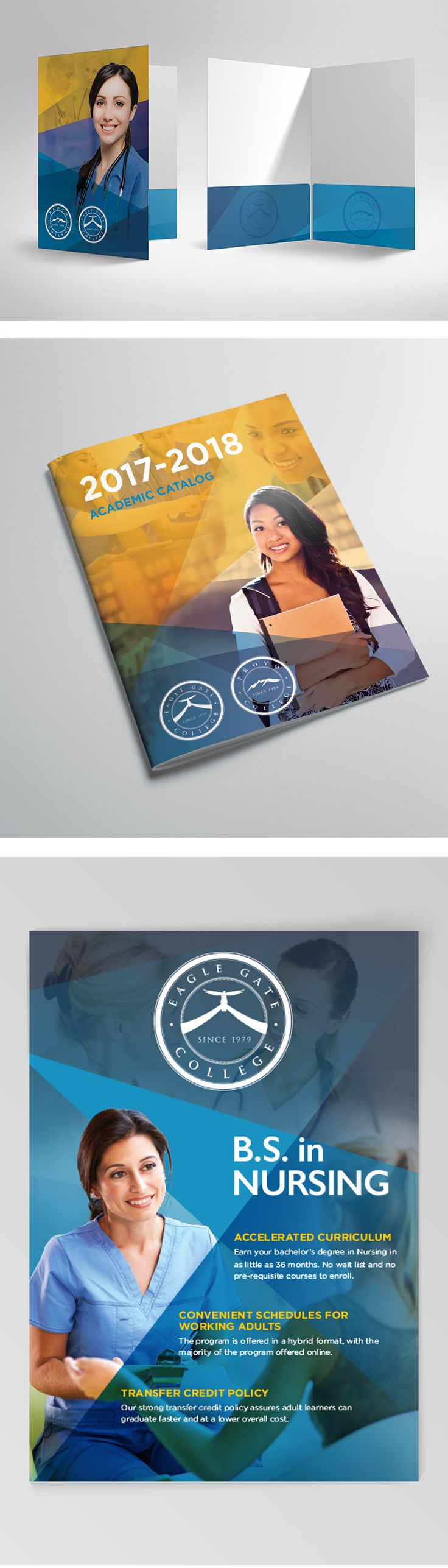 Kit cover, catalog cover, and poster for Eagle Gate College. #graphicdesign #print #kitcover #college #branding
