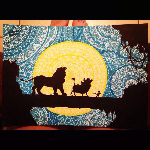 The lion king mandala/zentangle (drawn by me, Devon Yelverton)