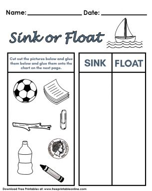 sink or float worksheet preschool printable sink best free printable worksheets. Black Bedroom Furniture Sets. Home Design Ideas